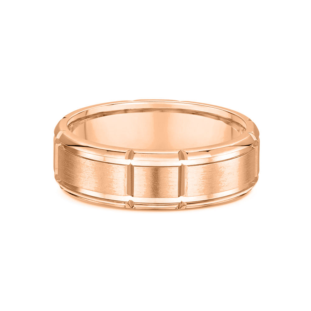 Grooved Mens wedding ring 418a02