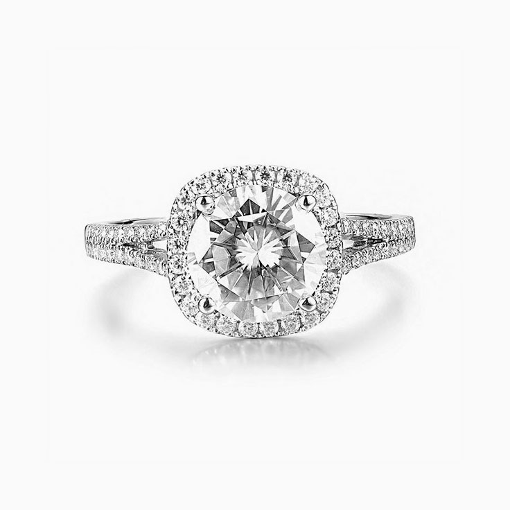 Round Diamond Halo Engagement Ring with a Split Band