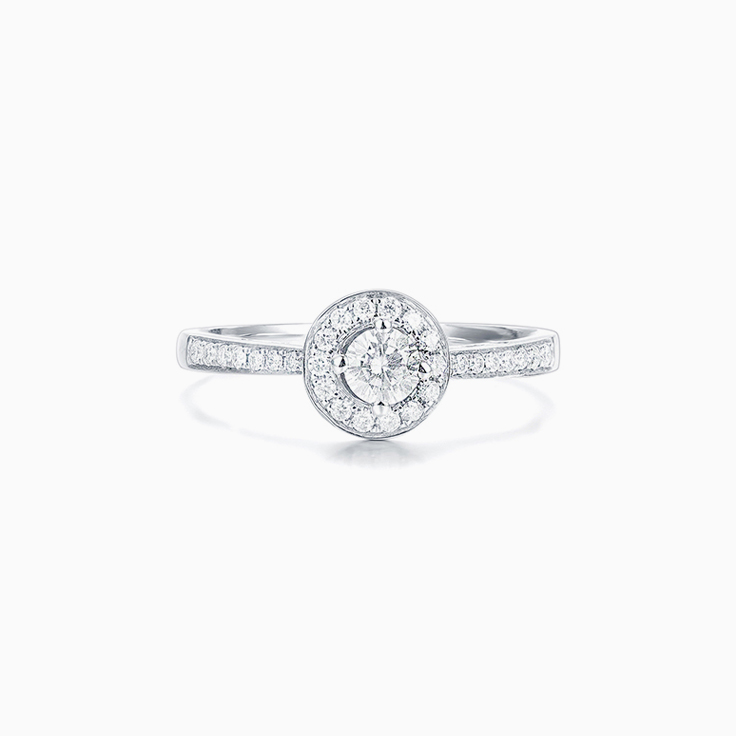 Round Brilliant cut diamond with a pave halo Engagement ring