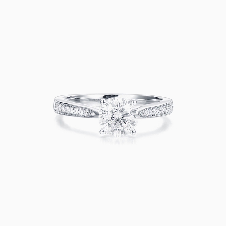 Round Brilliant cut Solitaire with a pave band Engagement Ring