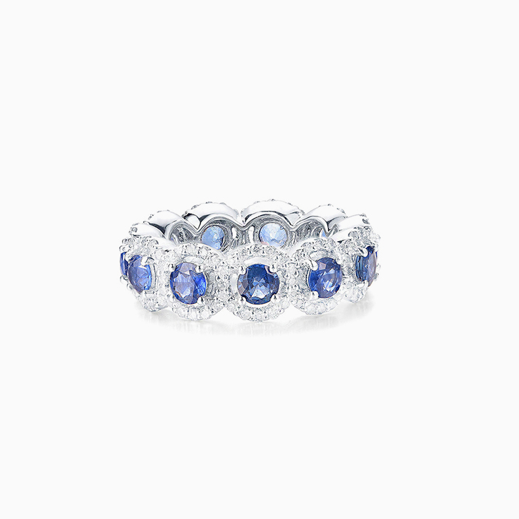 Blue Sapphire and diamond Eternity Ring