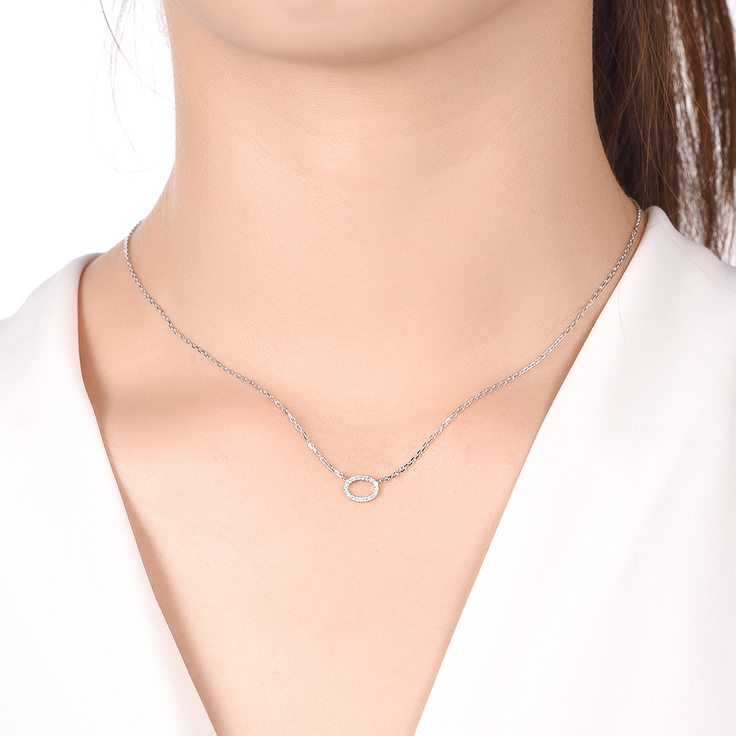 Oval Diamond Necklace