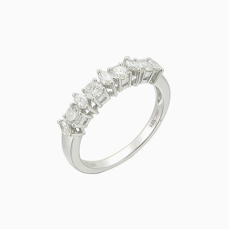 Marquise and Round wedding Ring