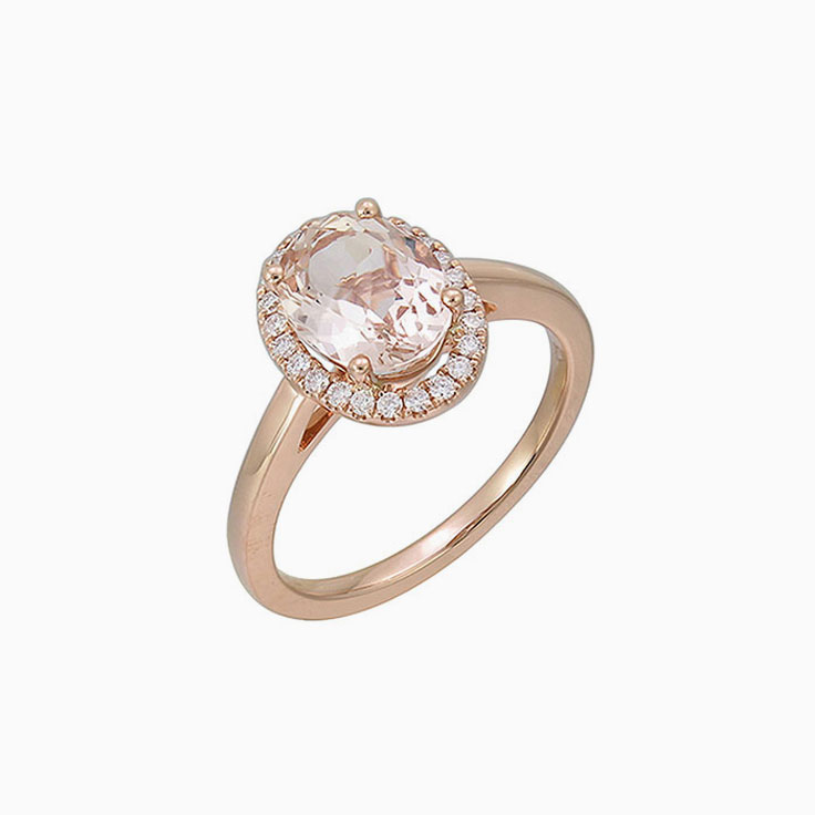 Oval Morganite with Diamond halo ring