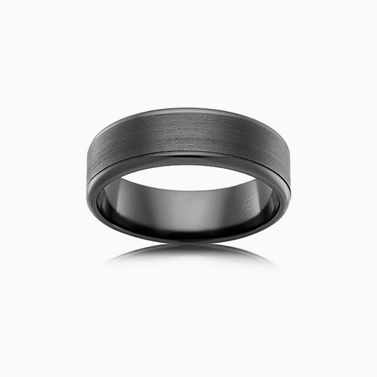 Full Black Zirconium wedding ring