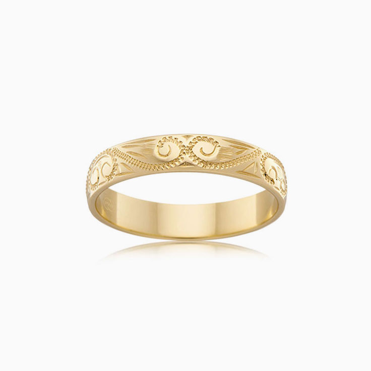 Carved wedding ring HR1558
