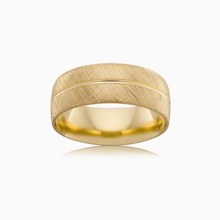 Centre grooved mens ring B2624