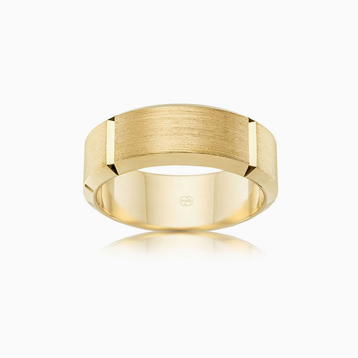 Grooved Mens wedding ring F3411