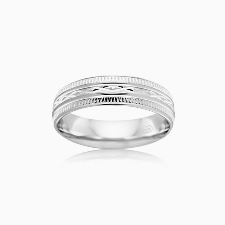 Carved Mens Wedding ring HR3858