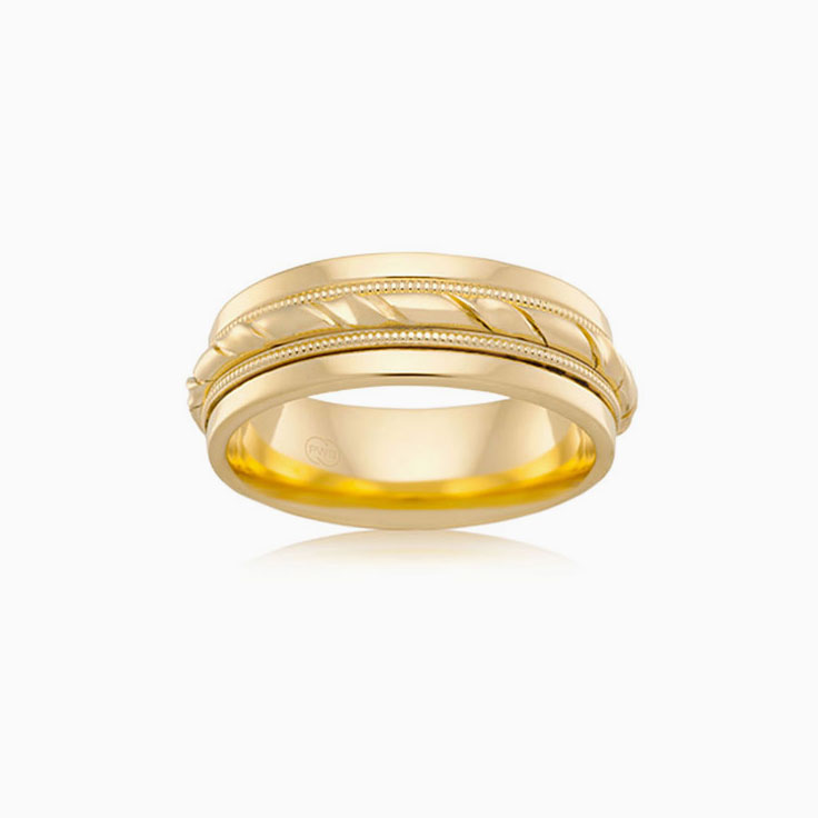 Grooved mens wedding ring J2104