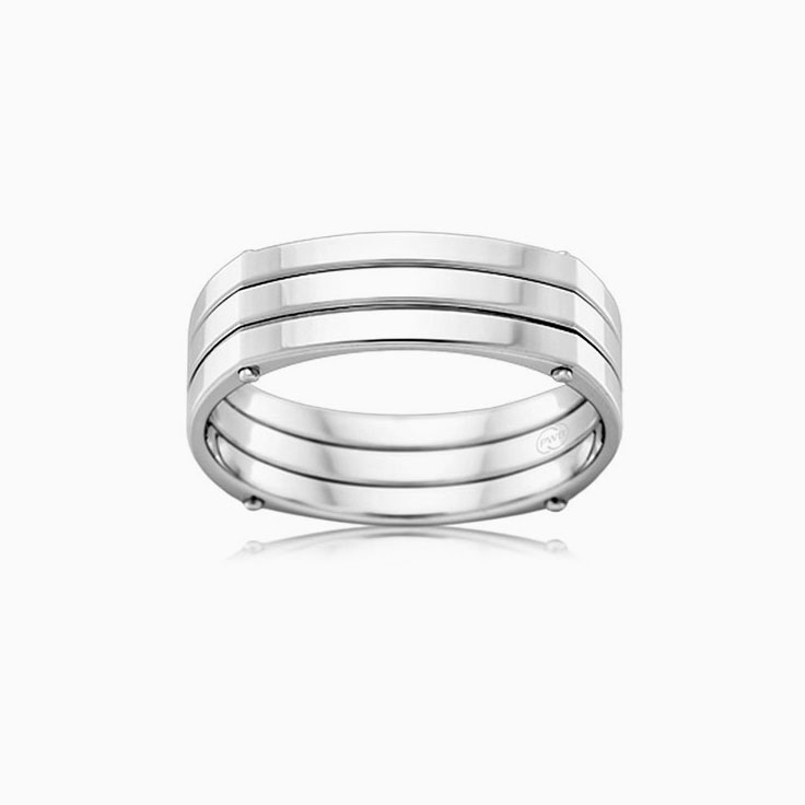 Double Grooved Mens rings J3968