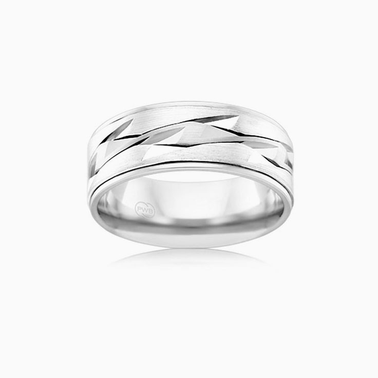 Pattern Mens wedding band J4170