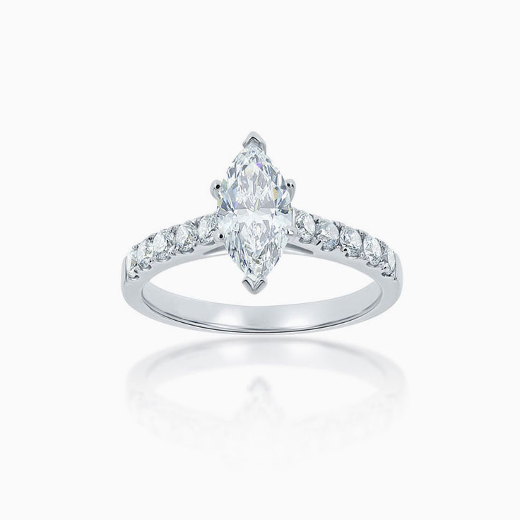 Marquise Cut diamond engagement ring on a diamond band