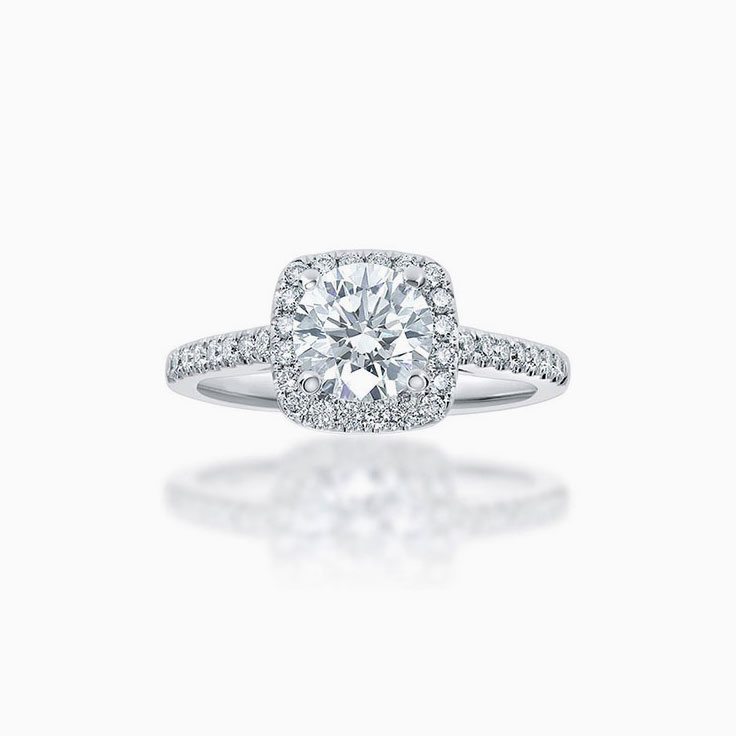 Round Brilliant cut cushion halo engagement ring