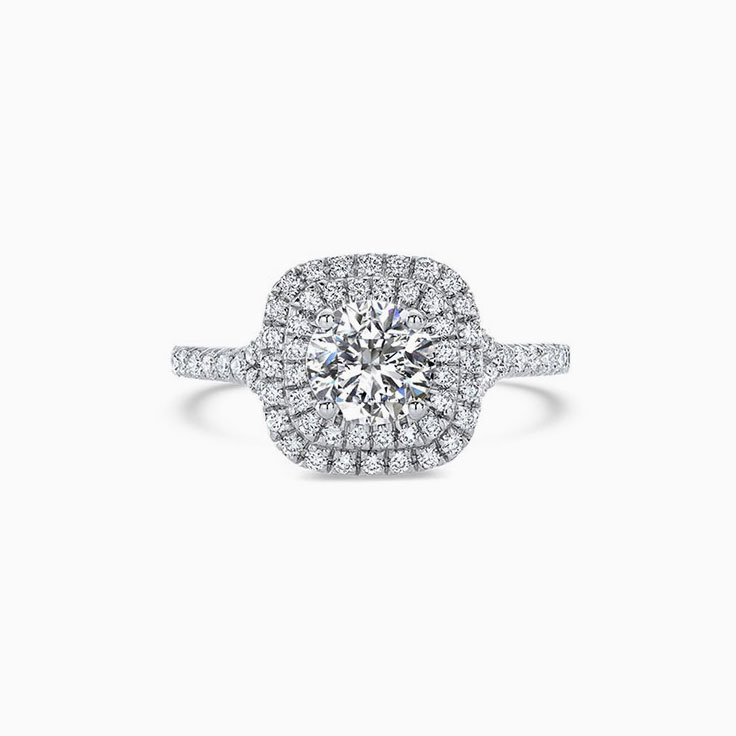 Round Diamond with a double cushion halo engagement ring