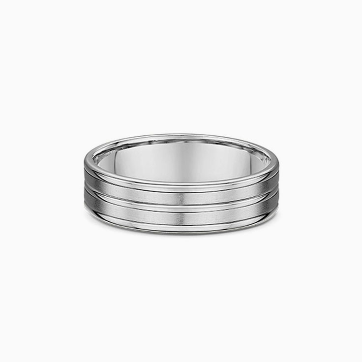 Grooved mens wedding ring 309A001