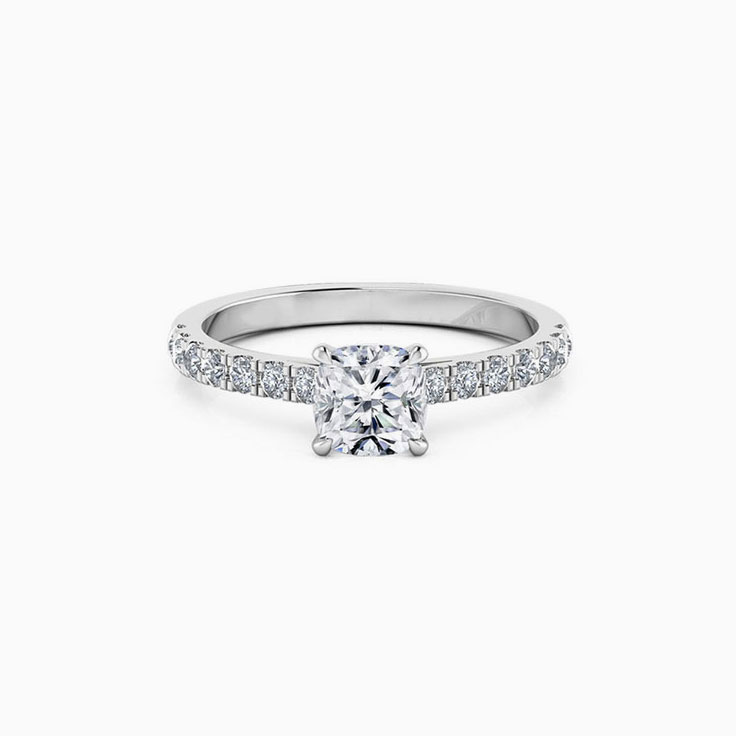 Cushion Cut Engagement Ring On A Pave Band