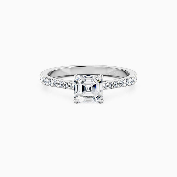 Asscher Cut Engagement Ring On A diamond Band