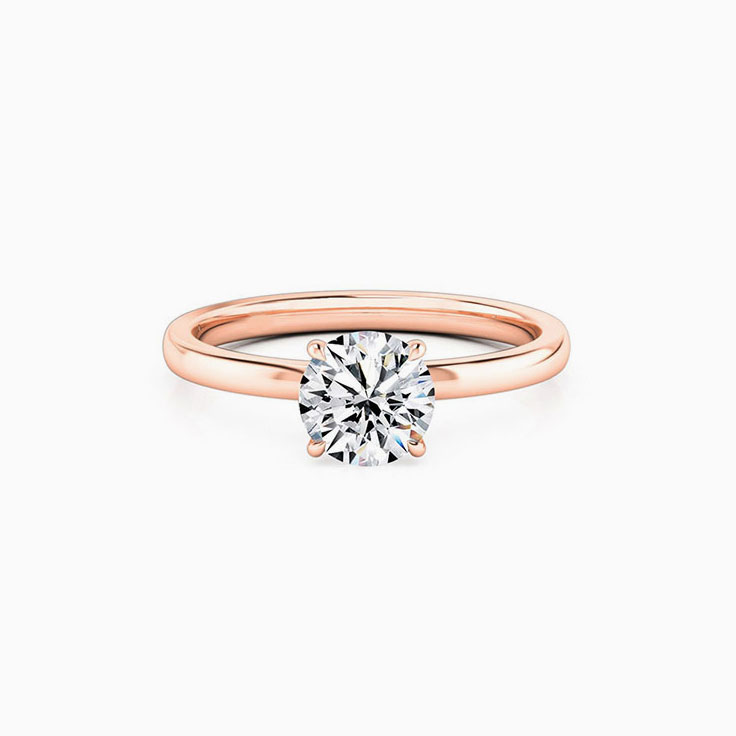 Round Brilliant Cut Engagement Ring with Four Claw