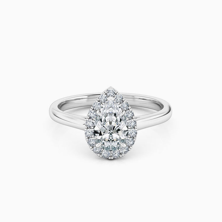 Pear Cut Diamond Engagement Ring With Diamond Halo