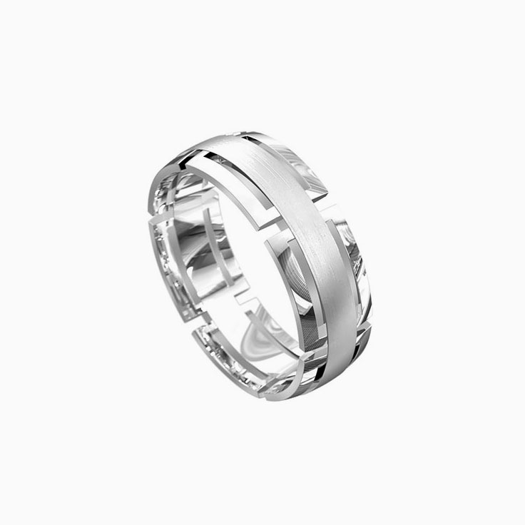 Grooved mens wedding ring 6046