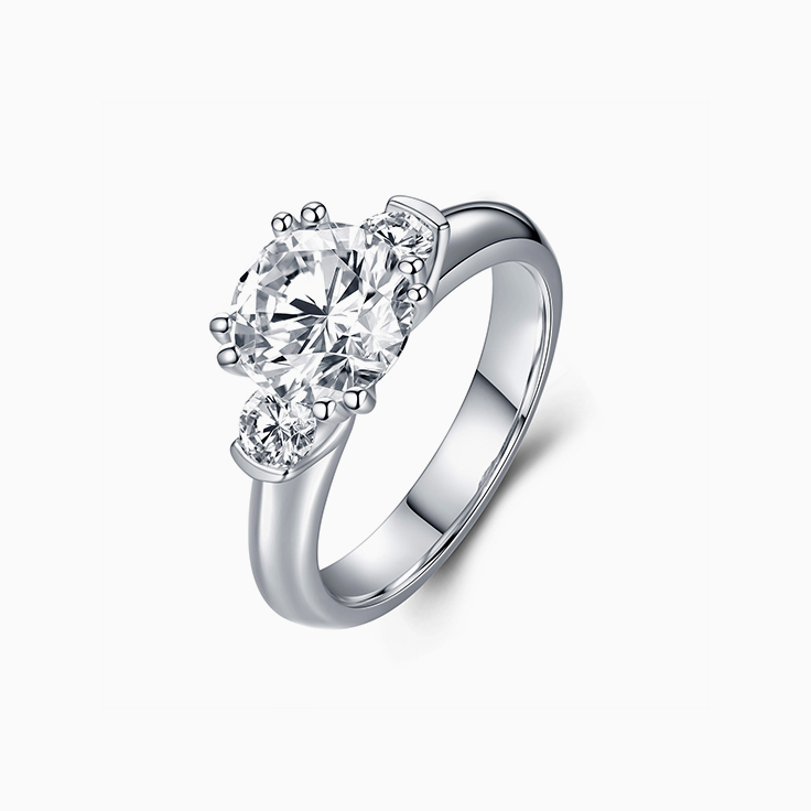 Trilogy Diamond Engagement Ring With Round Brilliant Cut Diamond