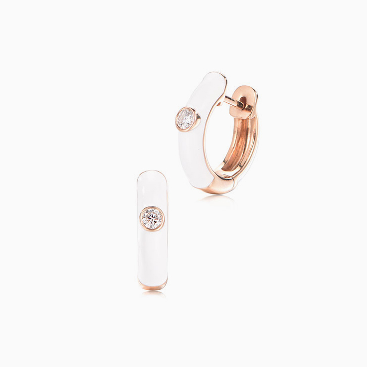 White enamal diamond hoops
