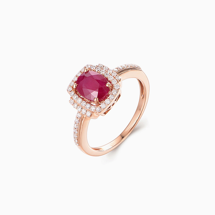 Oval Ruby with Cushion halo