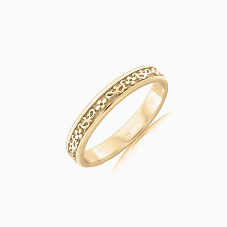 Carved ladies wedding ring J3646