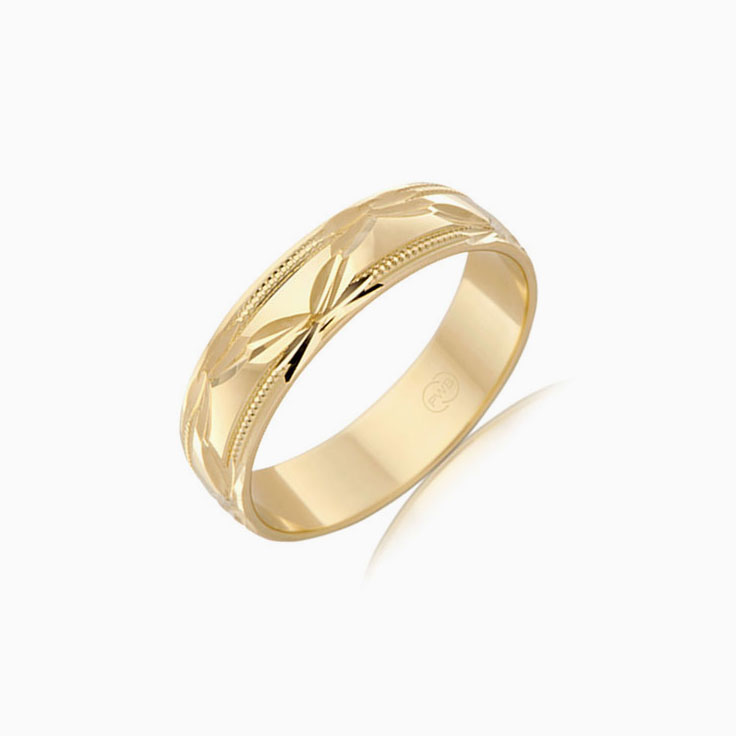 Carved mens wedding band HR1408