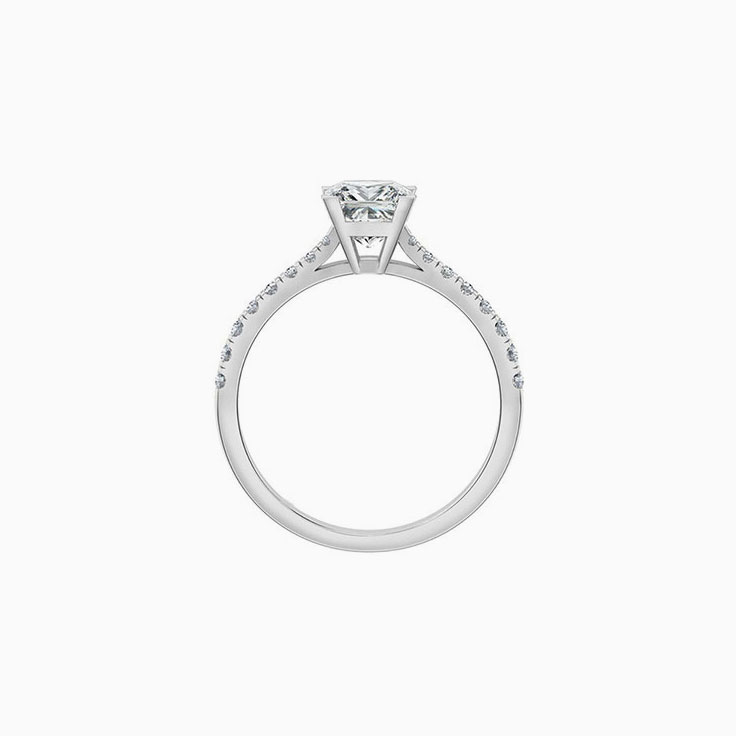 Princess cut diamond engagement ring on a diamond band