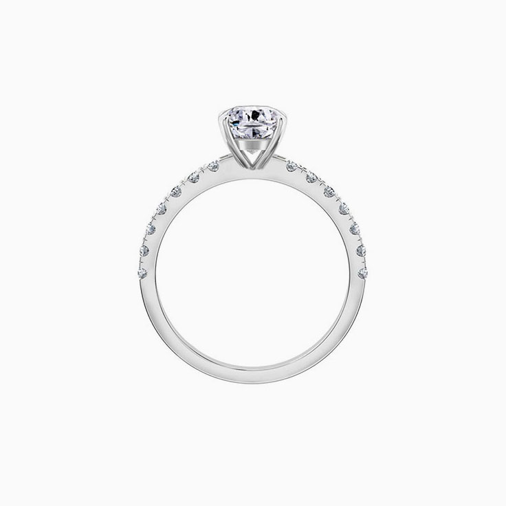 Cushion Cut Diamond Engagement Ring On A Pave Band