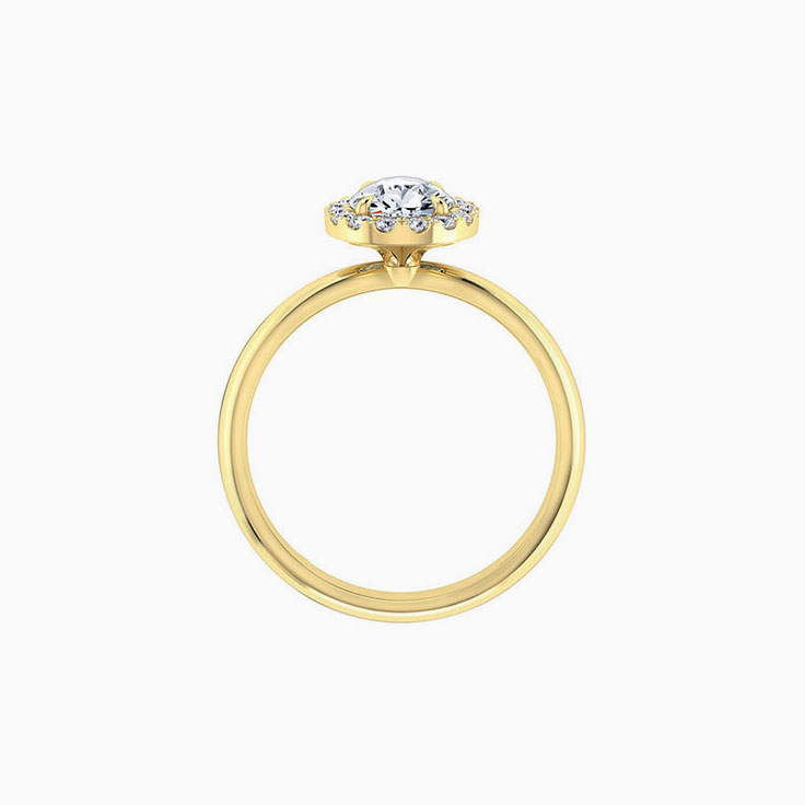 Pear diamond engagement ring with a diamond halo