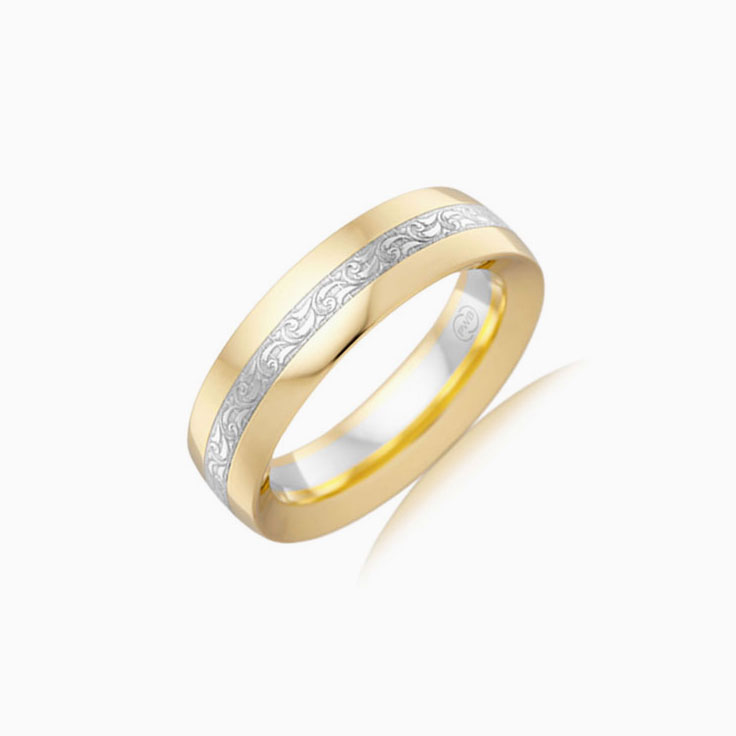 Two tone mens wedding ring 2T3825